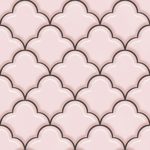 Ogee Half Drop Tiles in Baby Pink with Gold