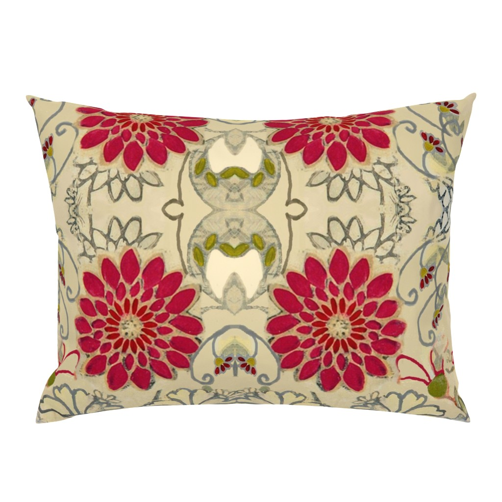 Campine Pillow Sham featuring Red Dahlia Art Deco by maria_pezzano