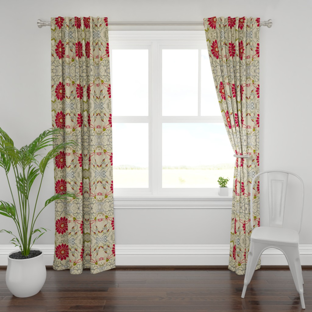 Plymouth Curtain Panel featuring Red Dahlia Art Deco by maria_pezzano