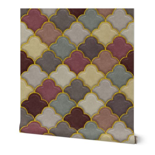 Shiny Ogee Half Drop Tiles in Morocco Colors