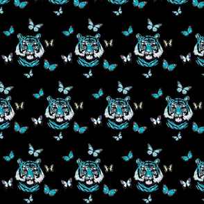 Tigers and Butterflies in turquoise
