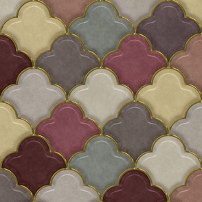Shiny Ogee Half Drop Tiles in Morocco Colors - V2
