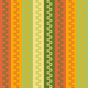 Cubist Stripes in Green, Yellow and Orange