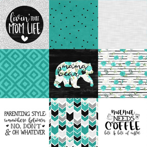 MomLife//Coffee//Turquoise - Wholecloth Cheater Quilt