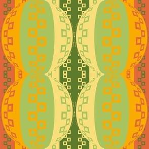 Sizzliing Geometric Hybrid Stripes in Orange - Green - Yellow