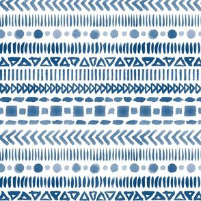 Classic Blue Watercolor Geometric Shapes Doodle Stripes - Medium Scale