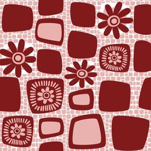 Scandi daisy blocks - blush and rust