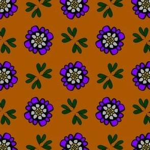Purple floral daisies and strong Pumpkin pattern