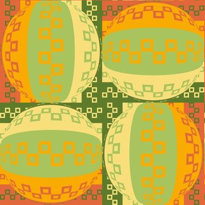 Four Square Geometric Hybrid Nuggets in Orange, Yellow and Green