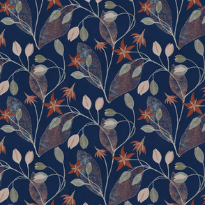Flower stars /orange_navy/