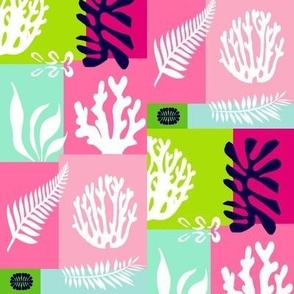 Coral & Seaweed, a Tropical Patchwork - Medium Scale