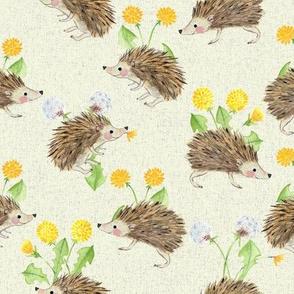 hedgehog and dandelion offwhite