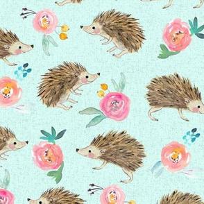 hedgehog and roses  blue
