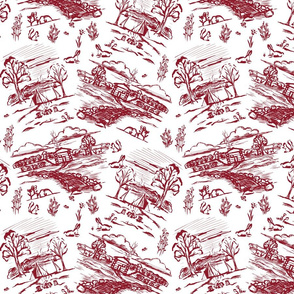 Off the Grid Ruby Red Toile
