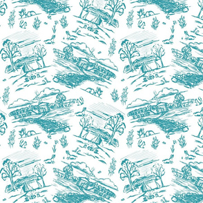 Off the Grid Teal Toile