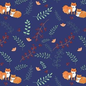 Foxes and Foliage Navy