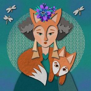 Fox Woman paper cut