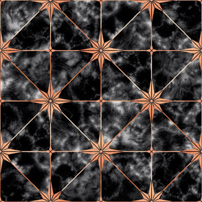 Black marble and copper star tile