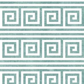 Greek key stripes -  dusty blue - LAD20