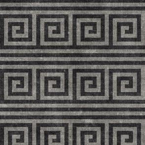 Greek key stripes -  grey on grey   - LAD20