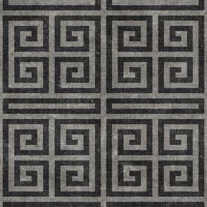Greek key  -  grey on grey   - LAD20