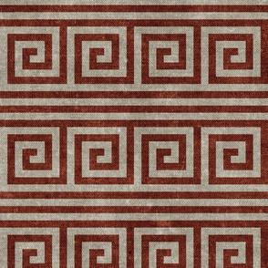 Greek key stripes -  stone & almond (rust)  - LAD20