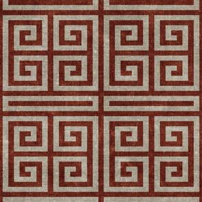 Greek key -  stone & almond (rust)  - LAD20