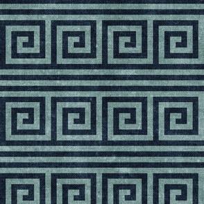 Greek key stripes - blue stone & blue - LAD20
