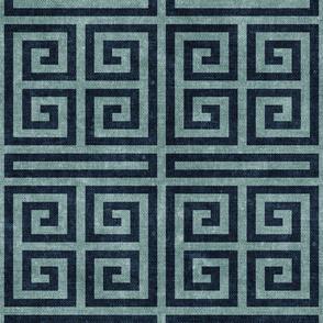 Greek key - blue stone & blue - LAD20