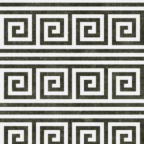 Greek key stripes - dark olive - LAD20