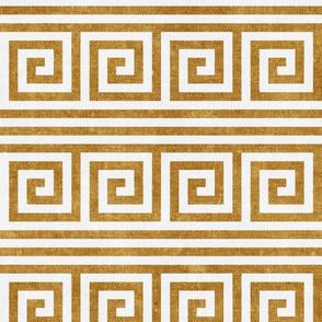 Greek key stripes - mustard - LAD20