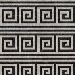 Greek key stripes - stone and charcoal - LAD20