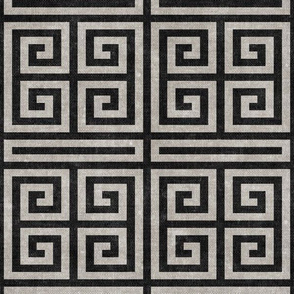 Greek key - stone and charcoal - LAD20