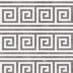 Greek key stripes - grey - LAD20