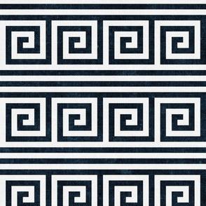 Greek key stripes - navy & off white - LAD20