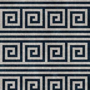 Greek key stripes - navy & stone - LAD20