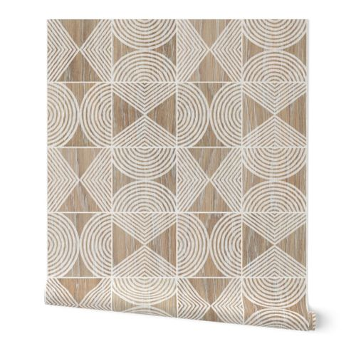 Boho Tribal Woodcut Neutral Geometric Shapes on Natural Wood