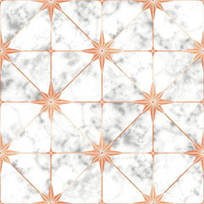 White marble and copper star tile