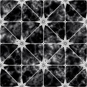 Black marble and white star tile