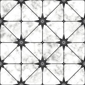 White marble and black star tile