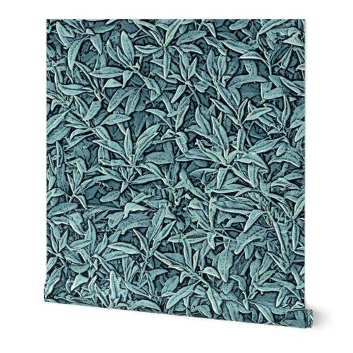Sage Leaves Faux Texture Embossed Look  Walllpaper