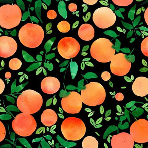 Oranges pattern-black