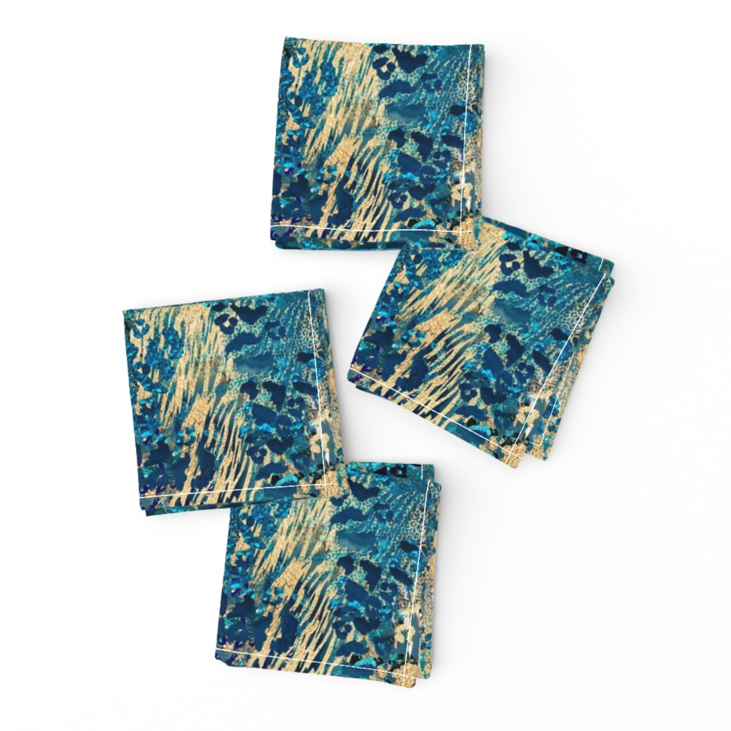 Frizzle Cocktail Napkins featuring Glamour Jungle Blue Gold by andrea_haase_design