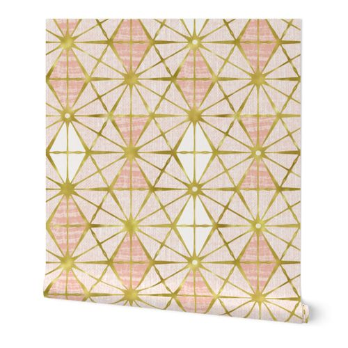 Luminous - Gilded Blush Pink Geometric Jumbo Scale