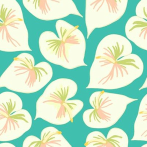 Anthuriums on teal