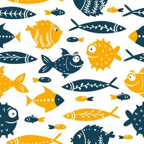 Under The Sea PufferFish Blue Orange