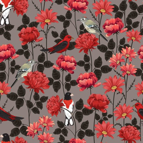 Birds & Roses Grey