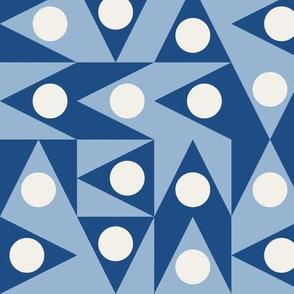 Patchwork Triangles Discs Deco Geo, Classic Blue