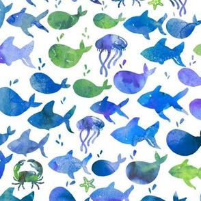 Under The Sea Blue Green Watercolor Fish - Medium