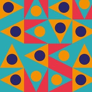 Patchwork Triangles Discs Deco Geo, multi colored